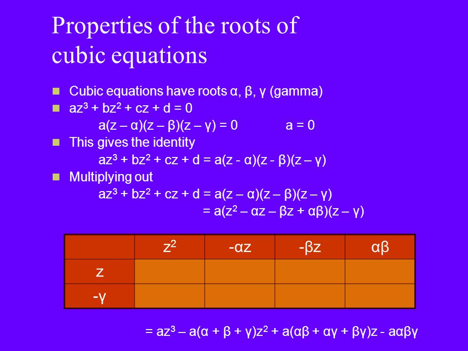 Properties of the roots of cubic equations Equating coefficients -a(α + β + γ) = b α + β + γ = -b/a a(αβ + αγ + βγ) = c αβ + αγ + βγ = c/a -aαβγ = d αβγ = -d/a Can you notice a pattern?
