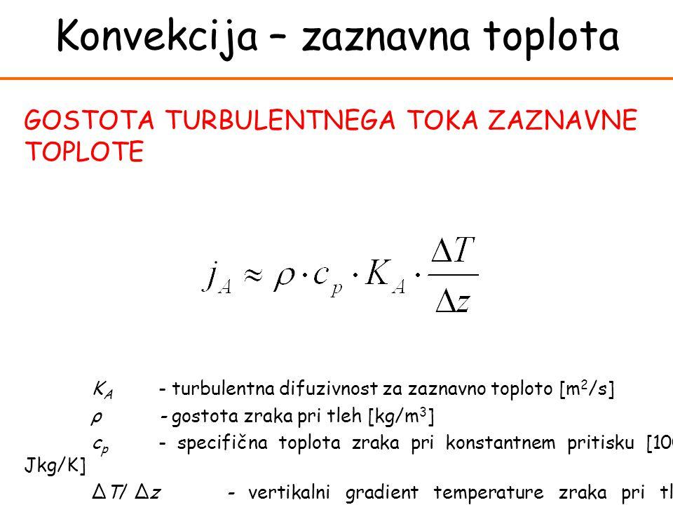 K A - turbulentna difuzivnost za zaznavno toploto [m 2 /s] ρ- gostota zraka pri tleh [kg/m 3 ] c p - specifična toplota zraka pri konstantnem pritisku [1004 Jkg/K] ΔT/ Δz- vertikalni gradient temperature zraka pri tleh [K/m] GOSTOTA TURBULENTNEGA TOKA ZAZNAVNE TOPLOTE