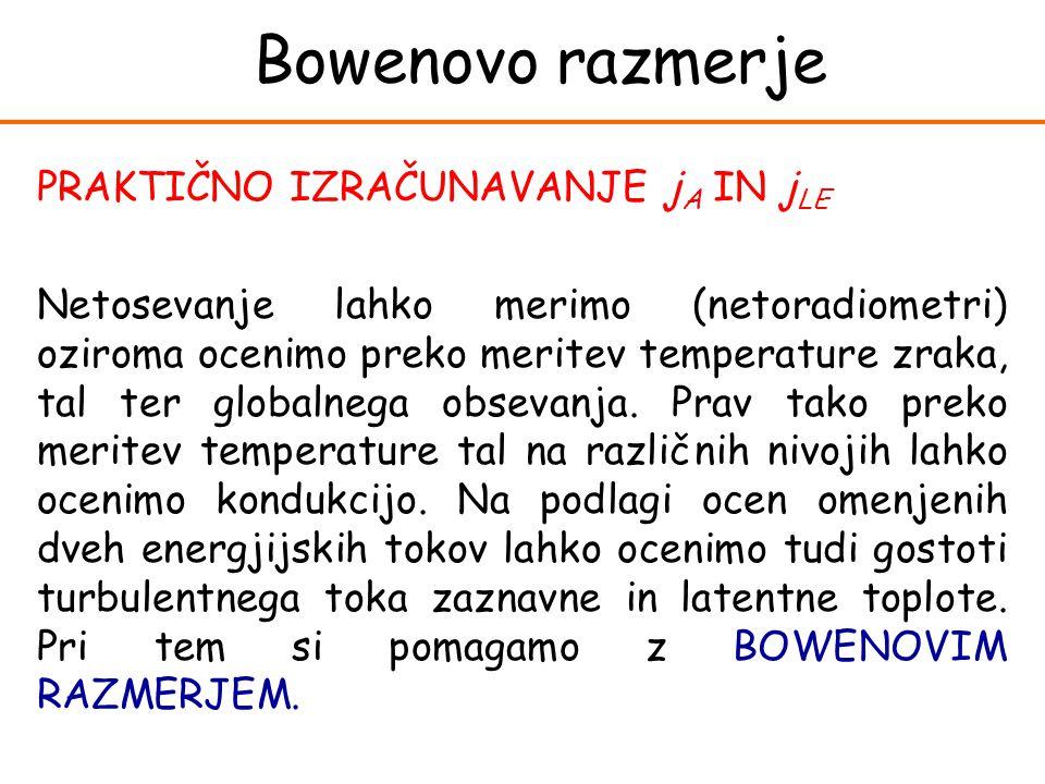Bowenovo razmerje PRAKTIČNO IZRAČUNAVANJE j A IN j LE Netosevanje lahko merimo (netoradiometri) oziroma ocenimo preko meritev temperature zraka, tal t