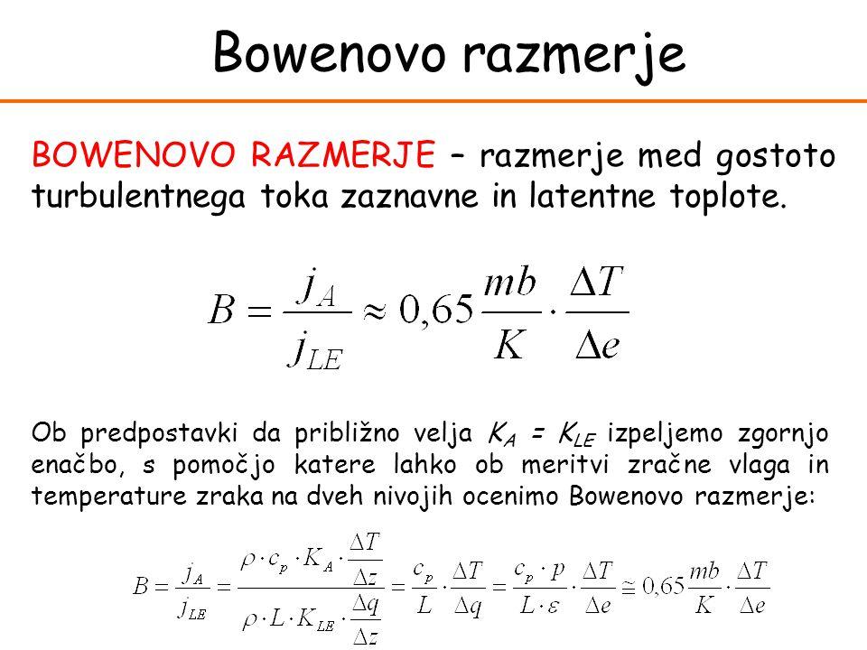 Bowenovo razmerje BOWENOVO RAZMERJE – razmerje med gostoto turbulentnega toka zaznavne in latentne toplote. Ob predpostavki da približno velja K A = K
