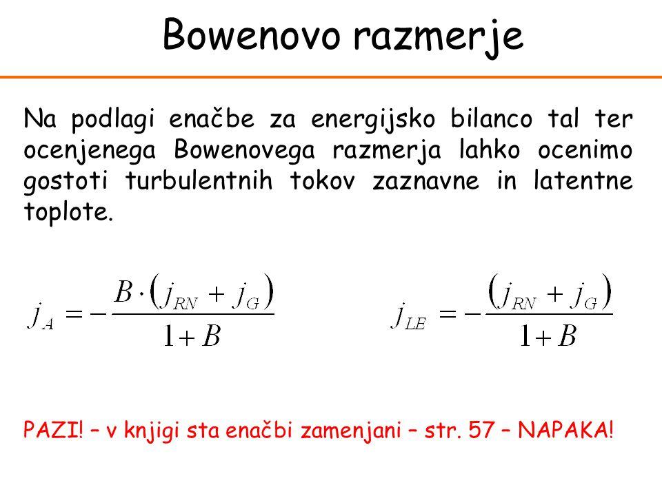 Bowenovo razmerje Na podlagi enačbe za energijsko bilanco tal ter ocenjenega Bowenovega razmerja lahko ocenimo gostoti turbulentnih tokov zaznavne in