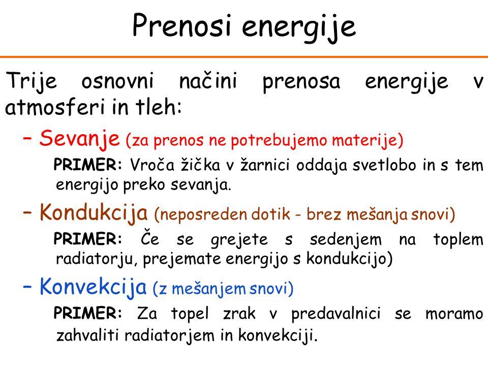 Trije osnovni načini prenosa energije v atmosferi in tleh: –Sevanje (za prenos ne potrebujemo materije) PRIMER: Vroča žička v žarnici oddaja svetlobo in s tem energijo preko sevanja.