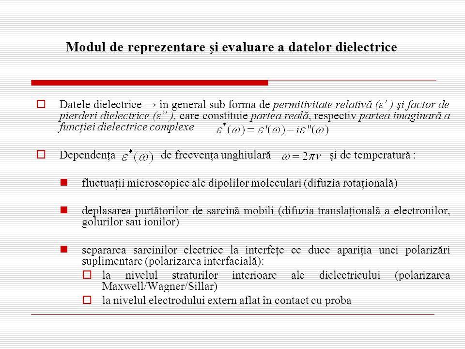 Modul de reprezentare şi evaluare a datelor dielectrice  Datele dielectrice → în general sub forma de permitivitate relativă (ε' ) şi factor de pierderi dielectrice (ε ), care constituie partea reală, respectiv partea imaginară a funcţiei dielectrice complexe  Dependenţa de frecvenţa unghiulară şi de temperatură : fluctuaţii microscopice ale dipolilor moleculari (difuzia rotaţională) deplasarea purtătorilor de sarcină mobili (difuzia translaţională a electronilor, golurilor sau ionilor) separarea sarcinilor electrice la interfeţe ce duce apariţia unei polarizări suplimentare (polarizarea interfacială):  la nivelul straturilor interioare ale dielectricului (polarizarea Maxwell/Wagner/Sillar)  la nivelul electrodului extern aflat în contact cu proba