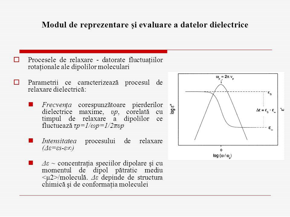 Modul de reprezentare şi evaluare a datelor dielectrice  Procesele de relaxare - datorate fluctuaţiilor rotaţionale ale dipolilor moleculari  Parametrii ce caracterizează procesul de relaxare dielectrică: Frecvenţa corespunzătoare pierderilor dielectrice maxime, υp, corelată cu timpul de relaxare a dipolilor ce fluctuează τp=1/ωp=1/2πυp Intensitatea procesului de relaxare (Δε=εs-ε∞) Δε ~ concentraţia speciilor dipolare şi cu momentul de dipol pătratic mediu /moleculă.