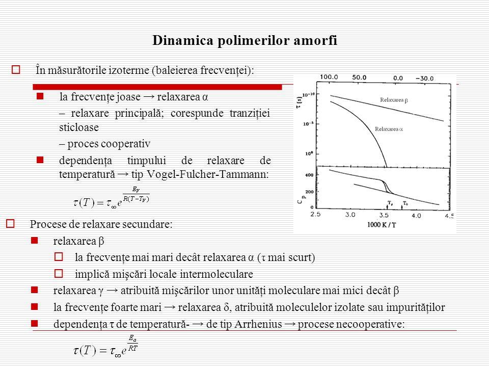 Dinamica polimerilor amorfi  În măsurătorile izoterme (baleierea frecvenţei): la frecvenţe joase → relaxarea α – relaxare principală; corespunde tranziţiei sticloase – proces cooperativ dependenţa timpului de relaxare de temperatură → tip Vogel-Fulcher-Tammann:  Procese de relaxare secundare: relaxarea β  la frecvenţe mai mari decât relaxarea α ( τ mai scurt)  implică mişcări locale intermoleculare relaxarea γ → atribuită mişcărilor unor unităţi moleculare mai mici decât β la frecvenţe foarte mari → relaxarea δ, atribuită moleculelor izolate sau impurităţilor dependenţa τ de temperatură- → de tip Arrhenius → procese necooperative: