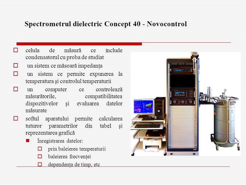 Spectrometrul dielectric Concept 40 - Novocontrol  celula de măsură ce include condensatorul cu proba de studiat  un sistem ce măsoară impedanţa  un sistem ce permite expunerea la temperatura şi controlul temperaturii  un computer ce controlează măsurătorile, compatibilitatea dispozitivelor şi evaluarea datelor măsurate  softul aparatului permite calcularea tuturor parametrilor din tabel şi reprezentarea grafică Înregistrarea datelor:  prin baleierea temperaturii  baleierea frecvenţei  dependenţa de timp, etc
