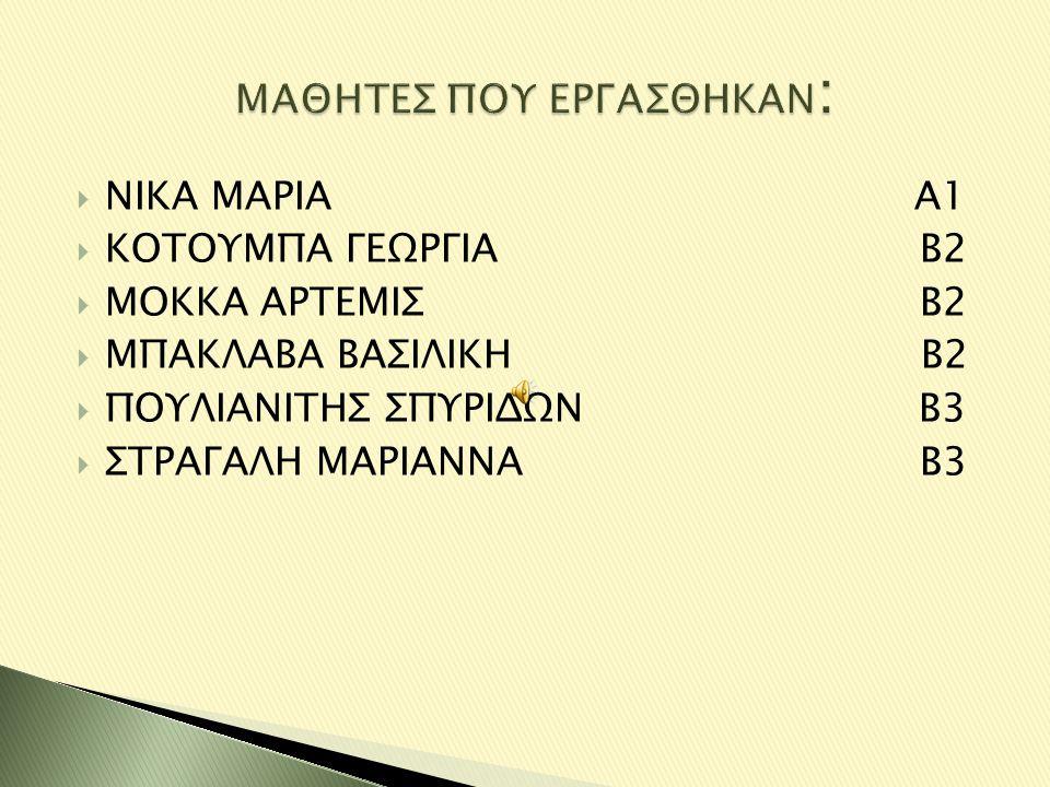  ΝΙΚΑ ΜΑΡΙΑ Α1  ΚΟΤΟΥΜΠΑ ΓΕΩΡΓΙΑ Β2  ΜΟΚΚΑ ΑΡΤΕΜΙΣ Β2  ΜΠΑΚΛΑΒΑ ΒΑΣΙΛΙΚΗ Β2  ΠΟΥΛΙΑΝΙΤΗΣ ΣΠΥΡΙΔΩΝ Β3  ΣΤΡΑΓΑΛΗ ΜΑΡΙΑΝΝΑ Β3