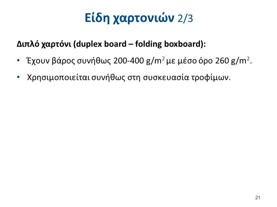 Είδη χαρτονιών 2/3 Διπλό χαρτόνι (duplex board – folding boxboard): Έχουν βάρος συνήθως 200-400 g/m 2 με μέσο όρο 260 g/m 2.