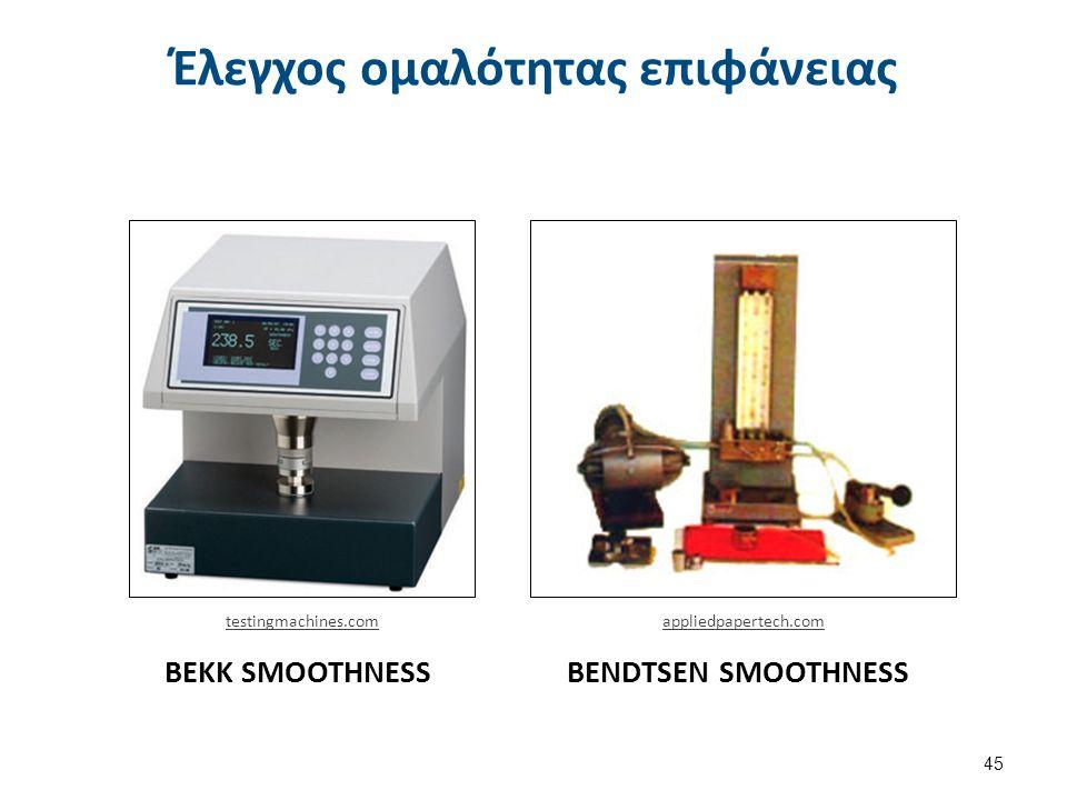 BEKK SMOOTHNESSBENDTSEN SMOOTHNESS Έλεγχος ομαλότητας επιφάνειας 45 appliedpapertech.comtestingmachines.com