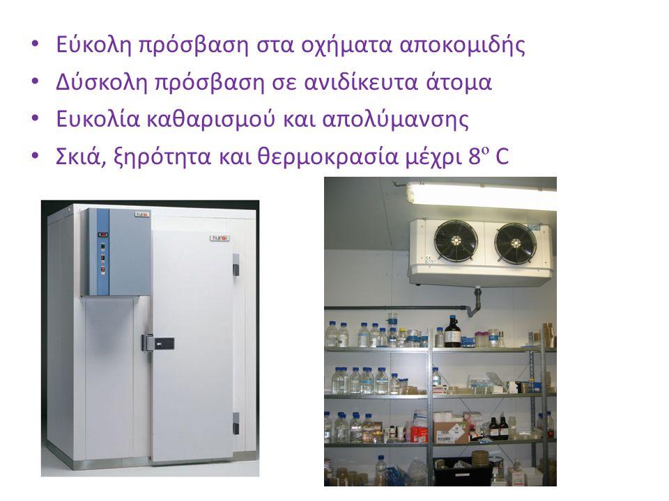Εύκολη πρόσβαση στα οχήματα αποκομιδής Δύσκολη πρόσβαση σε ανιδίκευτα άτομα Ευκολία καθαρισμού και απολύμανσης Σκιά, ξηρότητα και θερμοκρασία μέχρι 8