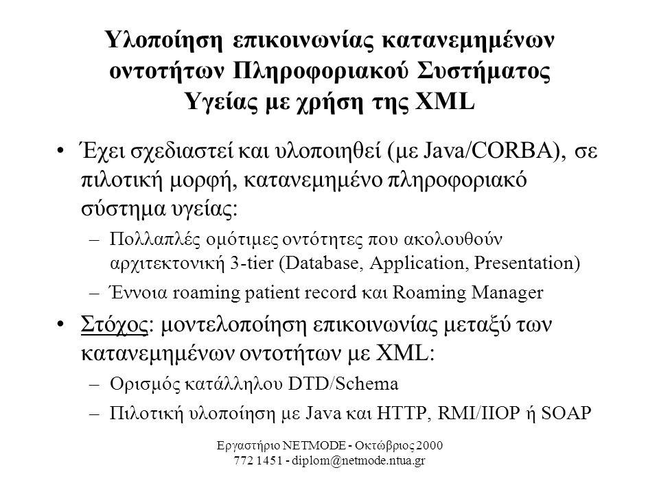Εργαστήριο NETMODE - Οκτώβριος 2000 772 1451 - diplom@netmode.ntua.gr Υλοποίηση επικοινωνίας κατανεμημένων οντοτήτων Πληροφοριακού Συστήματος Υγείας με χρήση της XML Έχει σχεδιαστεί και υλοποιηθεί (με Java/CORBA), σε πιλοτική μορφή, κατανεμημένο πληροφοριακό σύστημα υγείας: –Πολλαπλές ομότιμες οντότητες που ακολουθούν αρχιτεκτονική 3-tier (Database, Application, Presentation) –Έννοια roaming patient record και Roaming Manager Στόχος: μοντελοποίηση επικοινωνίας μεταξύ των κατανεμημένων οντοτήτων με XML: –Ορισμός κατάλληλου DTD/Schema –Πιλοτική υλοποίηση με Java και HTTP, RMI/IIOP ή SOAP