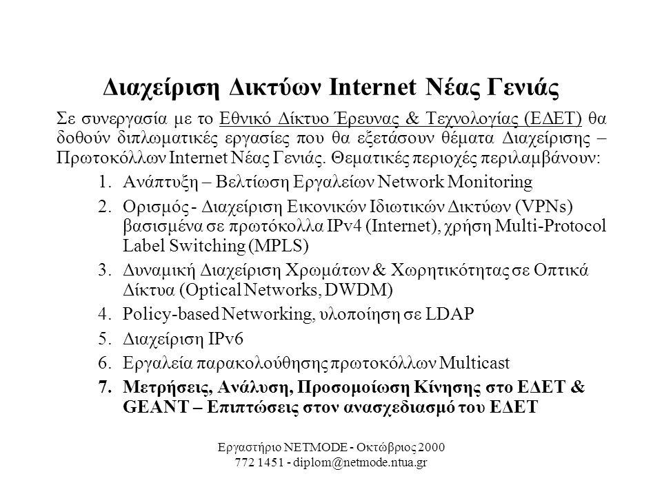 Εργαστήριο NETMODE - Οκτώβριος 2000 772 1451 - diplom@netmode.ntua.gr Διαχείριση Δικτύων Internet Νέας Γενιάς Σε συνεργασία με το Εθνικό Δίκτυο Έρευνας & Τεχνολογίας (ΕΔΕΤ) θα δοθούν διπλωματικές εργασίες που θα εξετάσουν θέματα Διαχείρισης – Πρωτοκόλλων Internet Νέας Γενιάς.