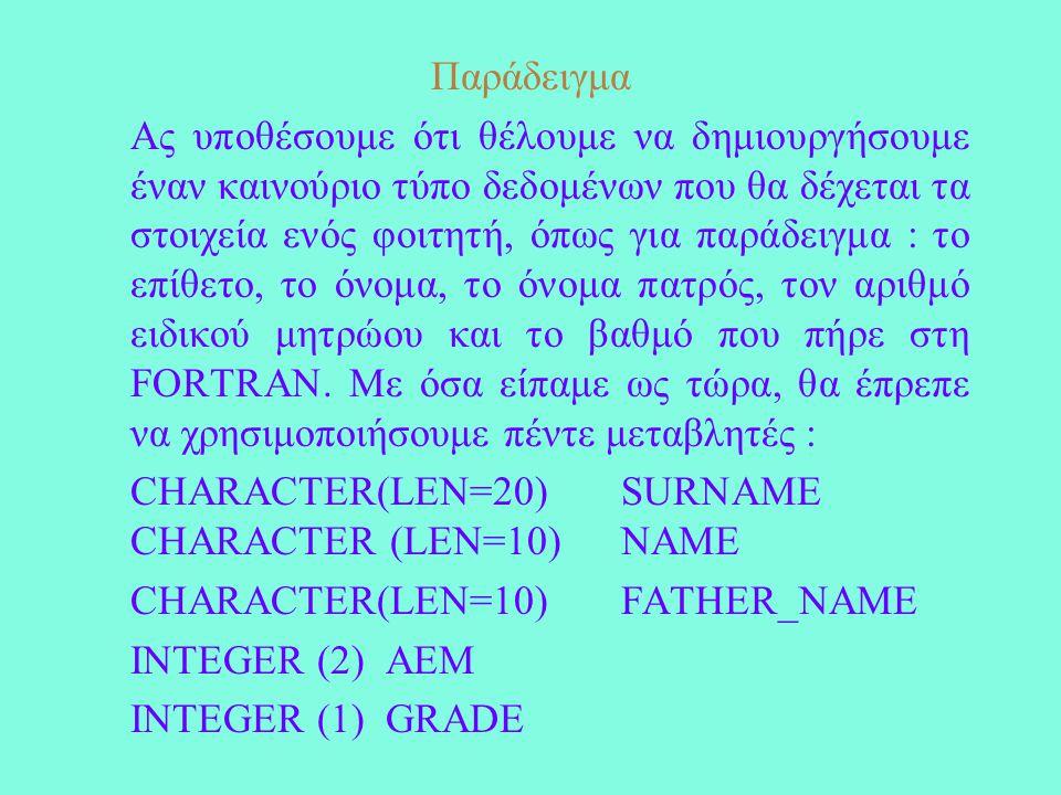 Παράδειγμα Ας υποθέσουμε ότι θέλουμε να δημιουργήσουμε έναν καινούριο τύπο δεδομένων που θα δέχεται τα στοιχεία ενός φοιτητή, όπως για παράδειγμα : το επίθετο, το όνομα, το όνομα πατρός, τον αριθμό ειδικού μητρώου και το βαθμό που πήρε στη FORTRAN.