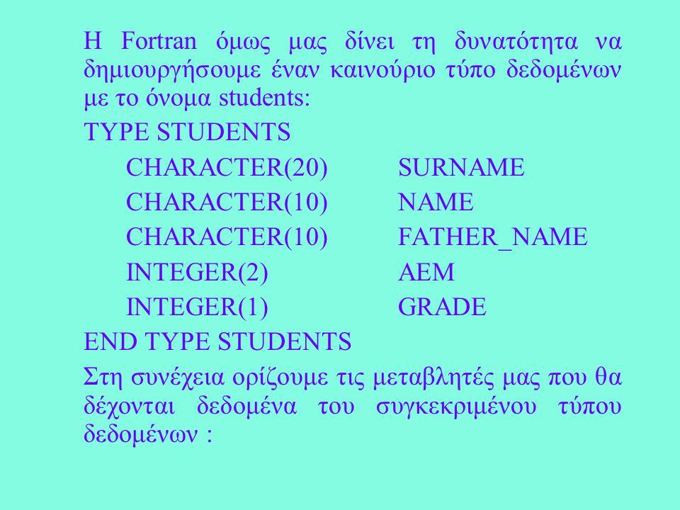 Η Fortran όμως μας δίνει τη δυνατότητα να δημιουργήσουμε έναν καινούριο τύπο δεδομένων με το όνομα students: TYPE STUDENTS CHARACTER(20)SURNAME CHARACTER(10) NAME CHARACTER(10)FATHER_NAME INTEGER(2) AEM INTEGER(1) GRADE END TYPE STUDENTS Στη συνέχεια ορίζουμε τις μεταβλητές μας που θα δέχονται δεδομένα του συγκεκριμένου τύπου δεδομένων :