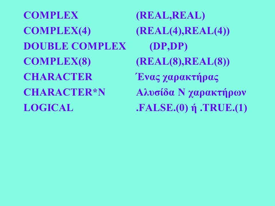 COMPLEX (REAL,REAL) COMPLEX(4) (REAL(4),REAL(4)) DOUBLE COMPLEX (DP,DP) COMPLEX(8) (REAL(8),REAL(8)) CHARACTER Ένας χαρακτήρας CHARACTER*N Αλυσίδα Ν χαρακτήρων LOGICAL.FALSE.(0) ή.TRUE.(1)