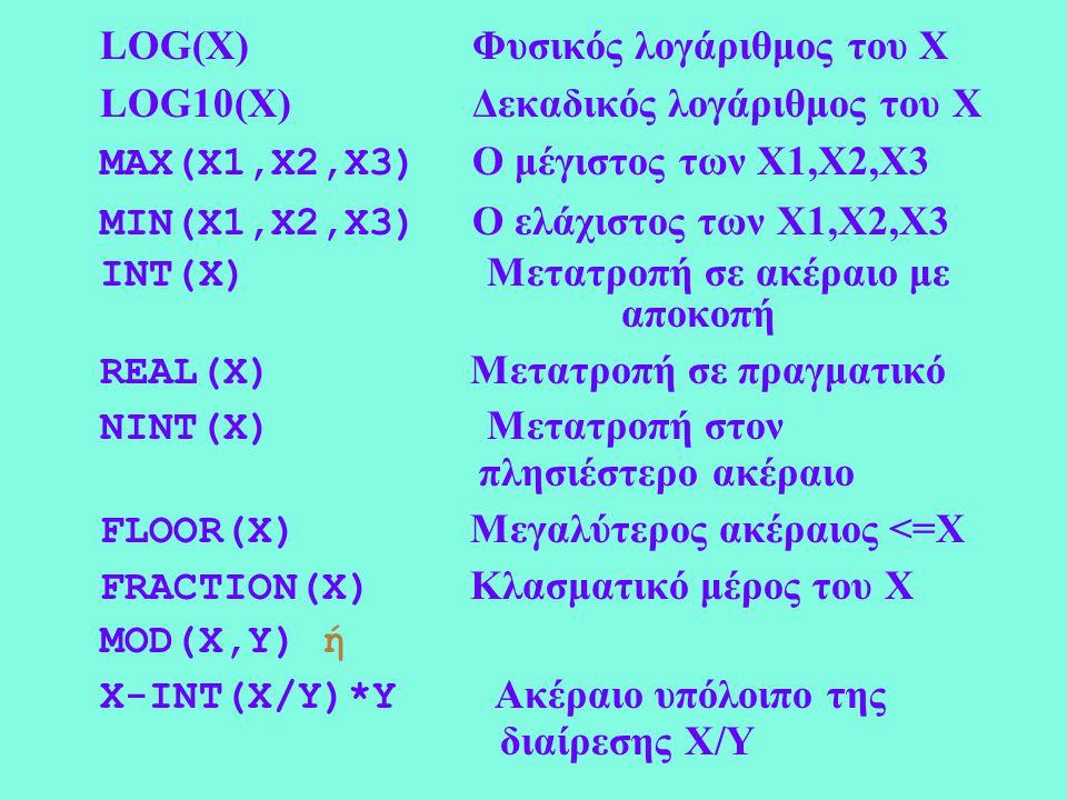 LOG(X) Φυσικός λογάριθμος του Χ LOG10(X) Δεκαδικός λογάριθμος του Χ MAX(X1,X2,X3) Ο μέγιστος των Χ1,Χ2,X3 MIN(X1,X2,X3) Ο ελάχιστος των Χ1,Χ2,X3 INT(X) Μετατροπή σε ακέραιο με αποκοπή REAL(X) Μετατροπή σε πραγματικό NINT(X) Μετατροπή στον πλησιέστερο ακέραιο FLOOR(X) Μεγαλύτερος ακέραιος <=X FRACTION(X) Κλασματικό μέρος του Χ MOD(X,Y) ή X-INT(X/Y)*Y Ακέραιο υπόλοιπο της διαίρεσης Χ/Υ
