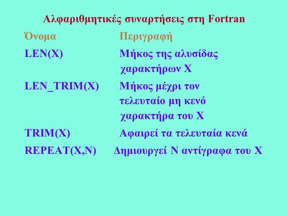 Αλφαριθμητικές συναρτήσεις στη Fortran Όνομα Περιγραφή LEN(X) Μήκος της αλυσίδας χαρακτήρων Χ LEN_TRIM(X) Μήκος μέχρι τον τελευταίο μη κενό χαρακτήρα του Χ TRIM(X) Αφαιρεί τα τελευταία κενά REPEAT(X,N) Δημιουργεί N αντίγραφα του Χ