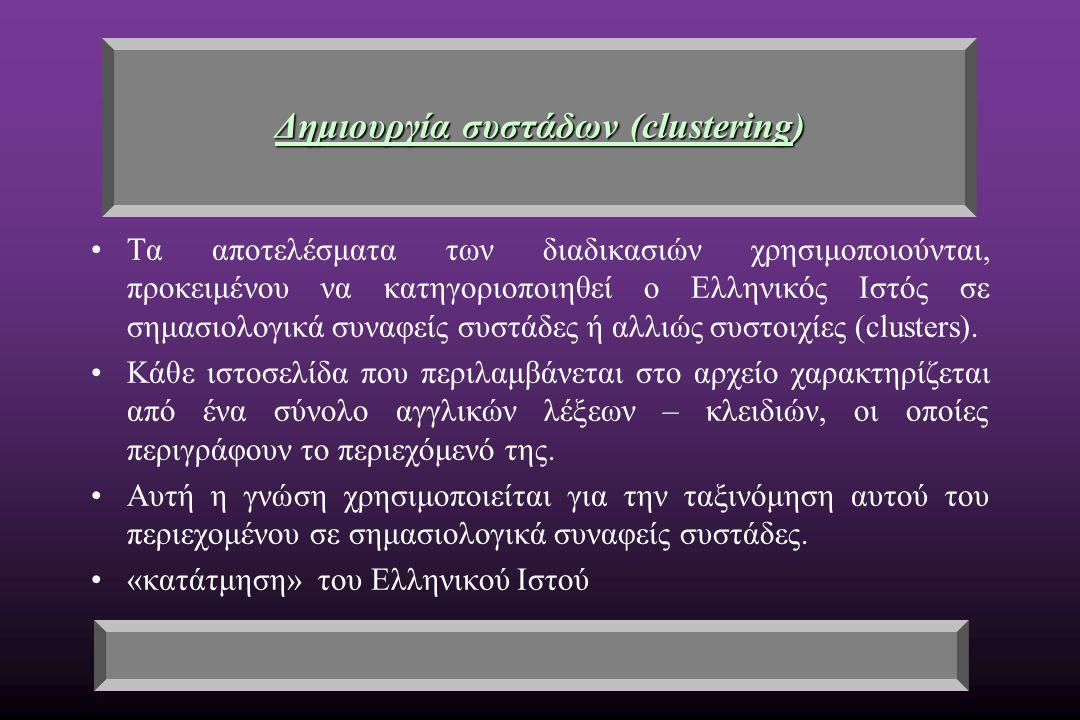 Δημιουργία συστάδων (clustering) Τα αποτελέσματα των διαδικασιών χρησιμοποιούνται, προκειμένου να κατηγοριοποιηθεί ο Ελληνικός Ιστός σε σημασιολογικά συναφείς συστάδες ή αλλιώς συστοιχίες (clusters).