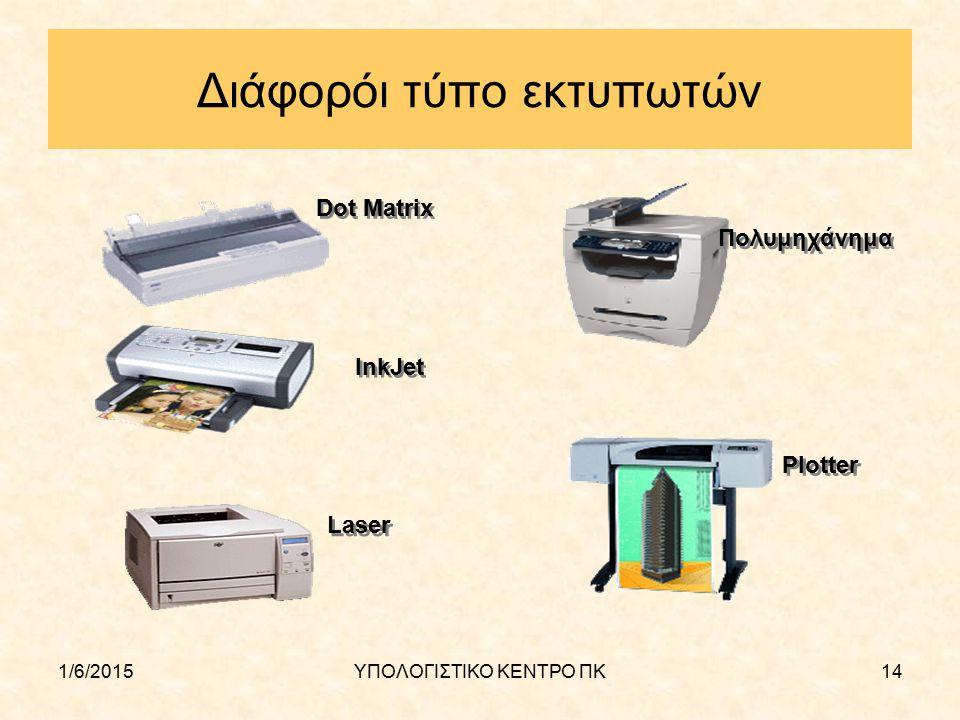 1/6/2015ΥΠΟΛΟΓΙΣΤΙΚΟ ΚΕΝΤΡΟ ΠΚ14 Διάφορόι τύπο εκτυπωτών Dot Matrix InkJet Laser Πολυμηχάνημα Plotter