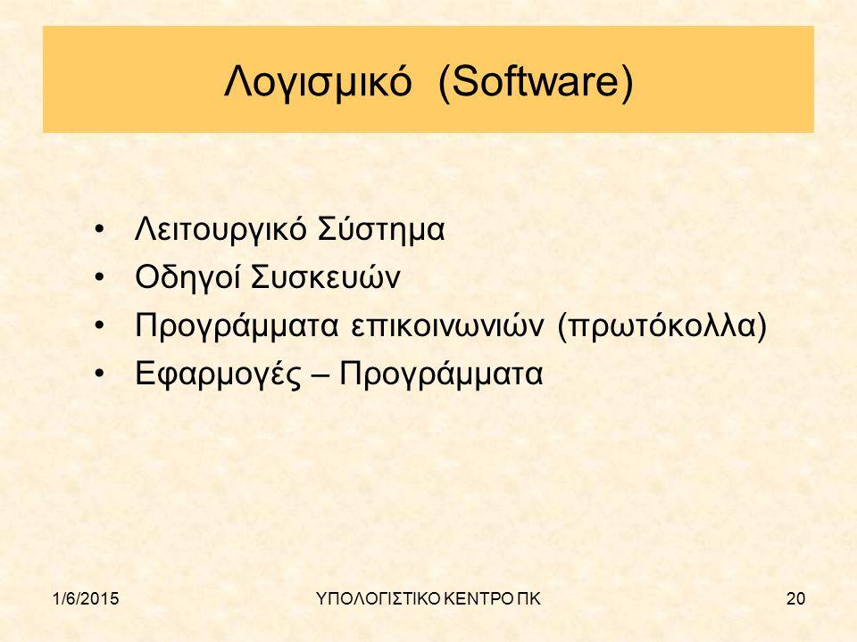 1/6/2015ΥΠΟΛΟΓΙΣΤΙΚΟ ΚΕΝΤΡΟ ΠΚ20 Λογισμικό (Software) Λειτουργικό Σύστημα Οδηγοί Συσκευών Προγράμματα επικοινωνιών (πρωτόκολλα) Εφαρμογές – Προγράμματ