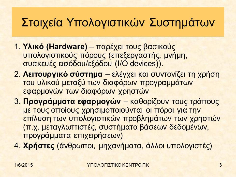 1/6/2015ΥΠΟΛΟΓΙΣΤΙΚΟ ΚΕΝΤΡΟ ΠΚ4 Υπολογιστής