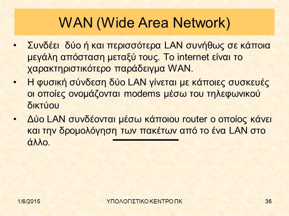 1/6/2015ΥΠΟΛΟΓΙΣΤΙΚΟ ΚΕΝΤΡΟ ΠΚ36 WAN (Wide Area Network) Συνδέει δύο ή και περισσότερα LAN συνήθως σε κάποια μεγάλη απόσταση μεταξύ τους. Το internet