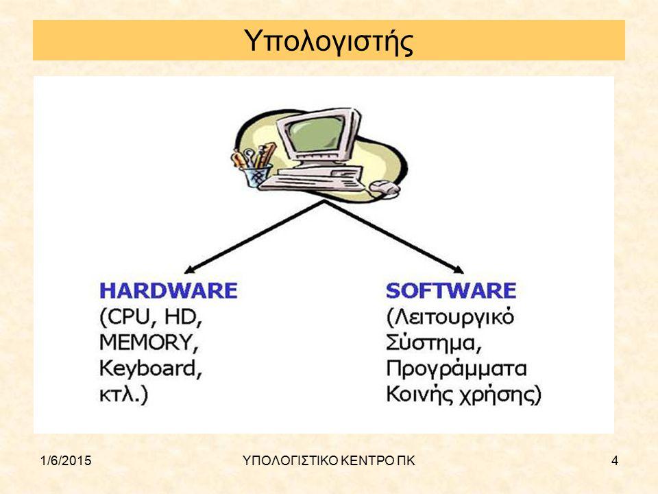 1/6/2015ΥΠΟΛΟΓΙΣΤΙΚΟ ΚΕΝΤΡΟ ΠΚ15 Κεντρική Μονάδα Επεξεργασίας (CPU) Το μέρος του υπολογιστή που εκτελούνται όλες οι αριθμητικές και λογικές πράξεις Υπάρχουν διάφορες δημοφιλείς αρχιτεκτονικές (i386, alpha, risk Η ταχύτητά της CPU ελέγχεται από το ρολόι του συστήματος το οποίο δημιουργεί έναν ηλεκτρονικό παλμό σε τακτά χρονικά διαστήματα και μετριέται σε μεγακύκλους (MHz Συνήθως έχει ενσωματωμένη κάποια μικρή ποσότητα μνήμης (cache) για προσωρινή αποθήκευση δεδομένων κατά τη διενέργεια πράξεων