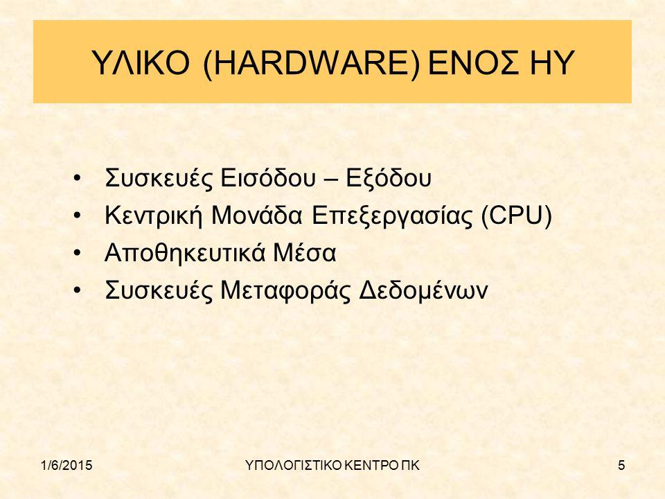 1/6/2015ΥΠΟΛΟΓΙΣΤΙΚΟ ΚΕΝΤΡΟ ΠΚ5 ΥΛΙΚΟ (HARDWARE) ΕΝΟΣ ΗΥ Συσκευές Εισόδου – Εξόδου Κεντρική Μονάδα Επεξεργασίας (CPU) Αποθηκευτικά Μέσα Συσκευές Μεταφ