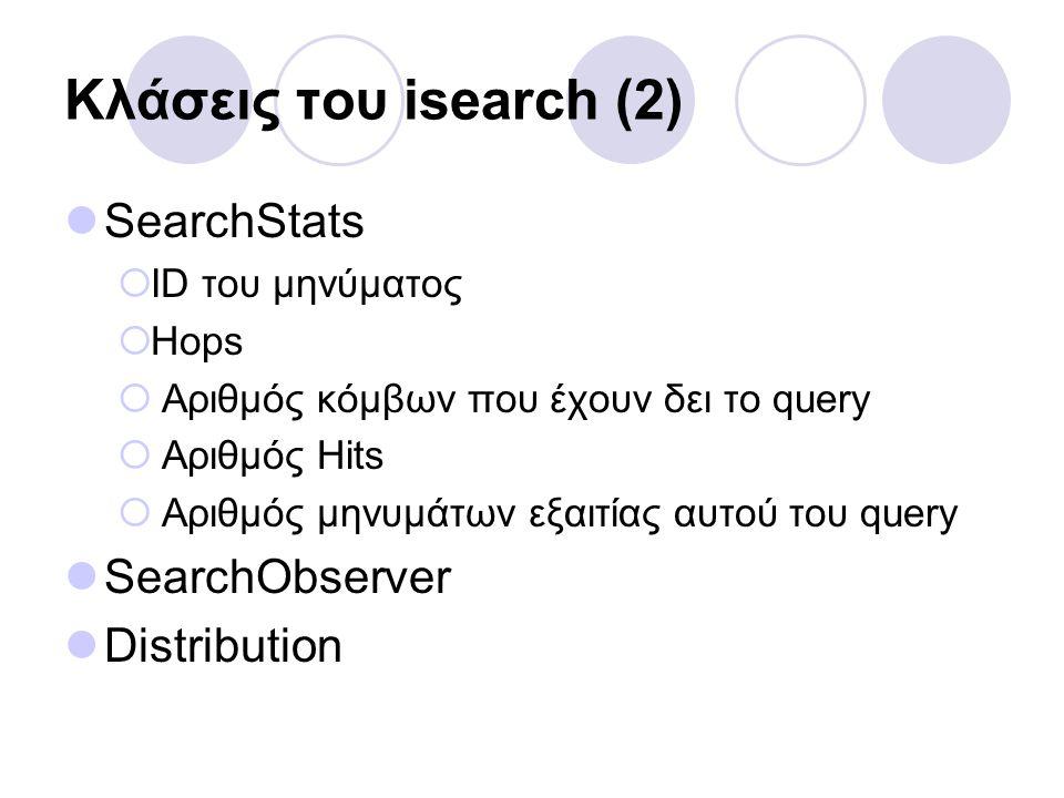 Κλάσεις του isearch (2) SearchStats  ID του μηνύματος  Hops  Αριθμός κόμβων που έχουν δει το query  Αριθμός Hits  Αριθμός μηνυμάτων εξαιτίας αυτού του query SearchObserver Distribution