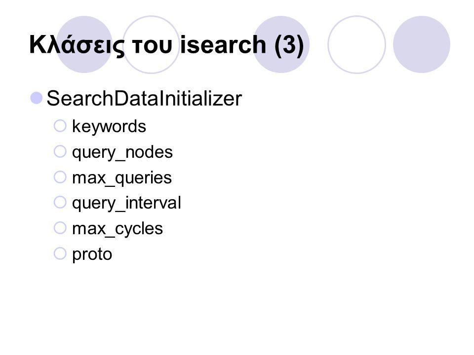 Κλάσεις του isearch (3) SearchDataInitializer  keywords  query_nodes  max_queries  query_interval  max_cycles  proto