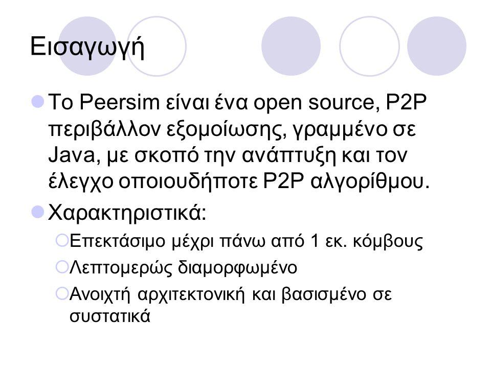 Εισαγωγή Το Peersim είναι ένα open source, P2P περιβάλλον εξομοίωσης, γραμμένο σε Java, με σκοπό την ανάπτυξη και τον έλεγχο οποιουδήποτε P2P αλγορίθμου.