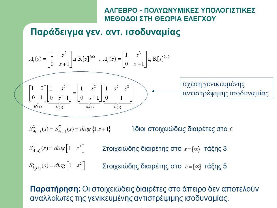 ΑΛΓΕΒΡΟ - ΠΟΛΥΩΝΥΜΙΚΕΣ ΥΠΟΛΟΓΙΣΤΙΚΕΣ ΜΕΘΟΔΟΙ ΣΤΗ ΘΕΩΡΙΑ ΕΛΕΓΧΟΥ Αλγόριθμος υπολογισμού/παρεμβολής για πολυωνυμικούς πίνακες FFT IFFT Σημείωση: Η αποτελεσματικότητα της παραπάνω τεχνικής έγκειται στην επιλογή κατάλληλων μεθόδων σε κάθε από τα παραπάνω βήματα.