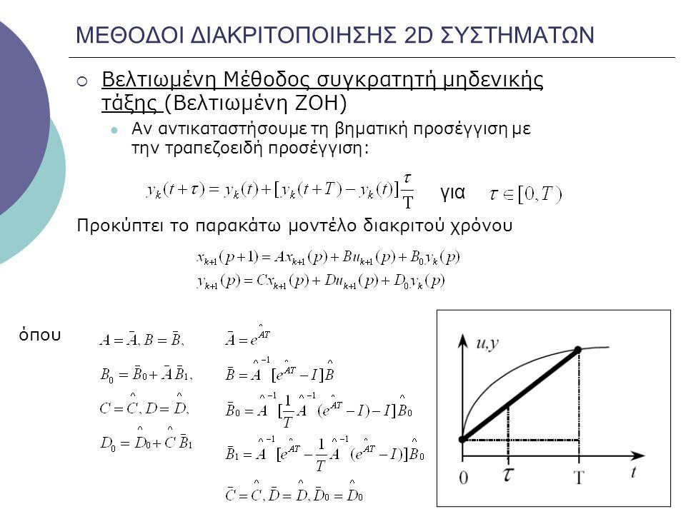 ΜΕΘΟΔΟΙ ΔΙΑΚΡΙΤΟΠΟΙΗΣΗΣ 2D ΣΥΣΤΗΜΑΤΩΝ  Βελτιωμένη Μέθοδος συγκρατητή μηδενικής τάξης (Βελτιωμένη ZOH) Αν αντικαταστήσουμε τη βηματική προσέγγιση με τ