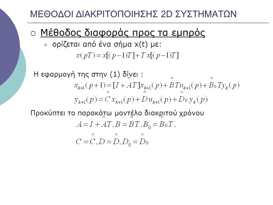 ΜΕΘΟΔΟΙ ΔΙΑΚΡΙΤΟΠΟΙΗΣΗΣ 2D ΣΥΣΤΗΜΑΤΩΝ  Μέθοδος διαφοράς προς τα εμπρός ορίζεται από ένα σήμα x(t) με: Προκύπτει το παρακάτω μοντέλο διακριτού χρόνου