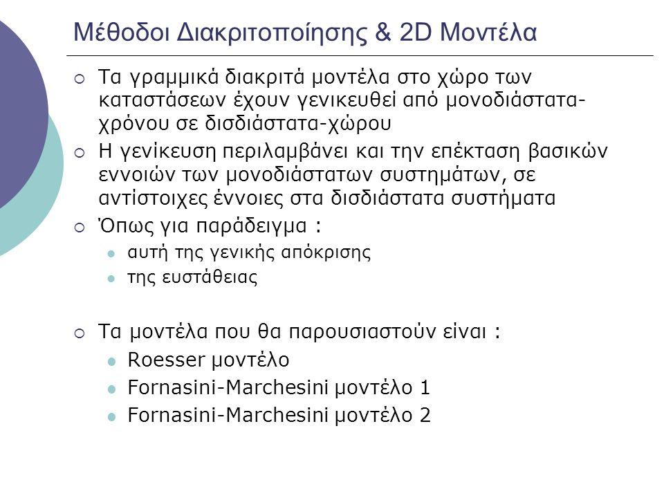 Μέθοδοι Διακριτοποίησης & 2D Μοντέλα  Τα γραμμικά διακριτά μοντέλα στο χώρο των καταστάσεων έχουν γενικευθεί από μονοδιάστατα- χρόνου σε δισδιάστατα-