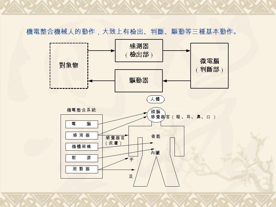 機電整合機械人的動作,大致上有檢出、判斷、驅動等三種基本動作。