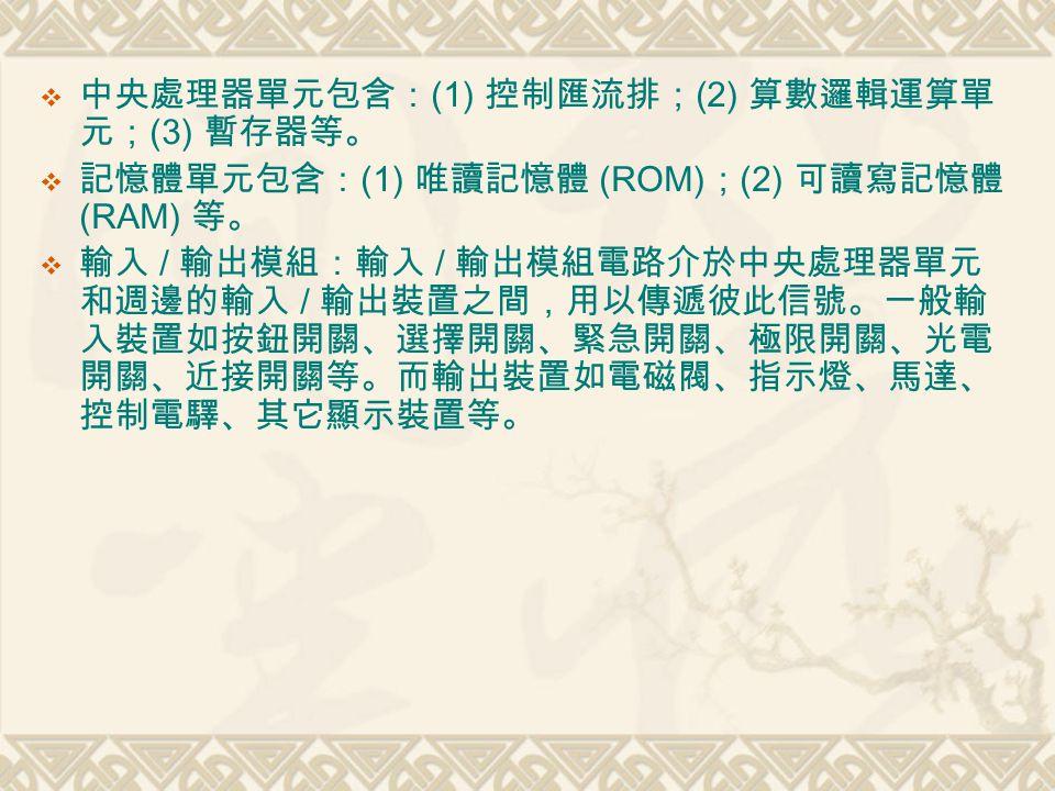  中央處理器單元包含: (1) 控制匯流排; (2) 算數邏輯運算單 元; (3) 暫存器等。  記憶體單元包含: (1) 唯讀記憶體 (ROM) ; (2) 可讀寫記憶體 (RAM) 等。  輸入 / 輸出模組:輸入 / 輸出模組電路介於中央處理器單元 和週邊的輸入 / 輸出裝置之間,用以傳遞彼此信號。一般輸 入裝置如按鈕開關、選擇開關、緊急開關、極限開關、光電 開關、近接開關等。而輸出裝置如電磁閥、指示燈、馬達、 控制電驛、其它顯示裝置等。