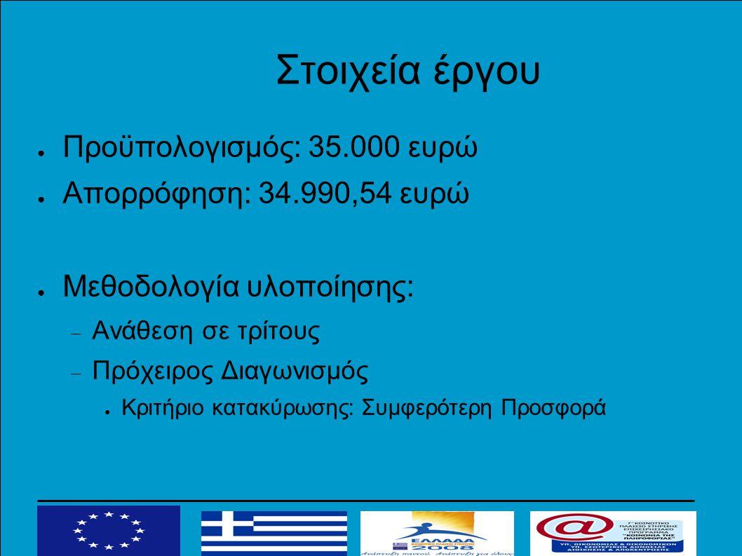 Στοιχεία έργου ● Προϋπολογισμός: 35.000 ευρώ ● Απορρόφηση: 34.990,54 ευρώ ● Μεθοδολογία υλοποίησης:  Ανάθεση σε τρίτους  Πρόχειρος Διαγωνισμός ● Κριτήριο κατακύρωσης: Συμφερότερη Προσφορά