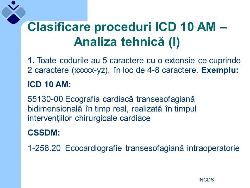 INCDS Clasificare proceduri ICD 10 AM – Analiza tehnică (I) 1.