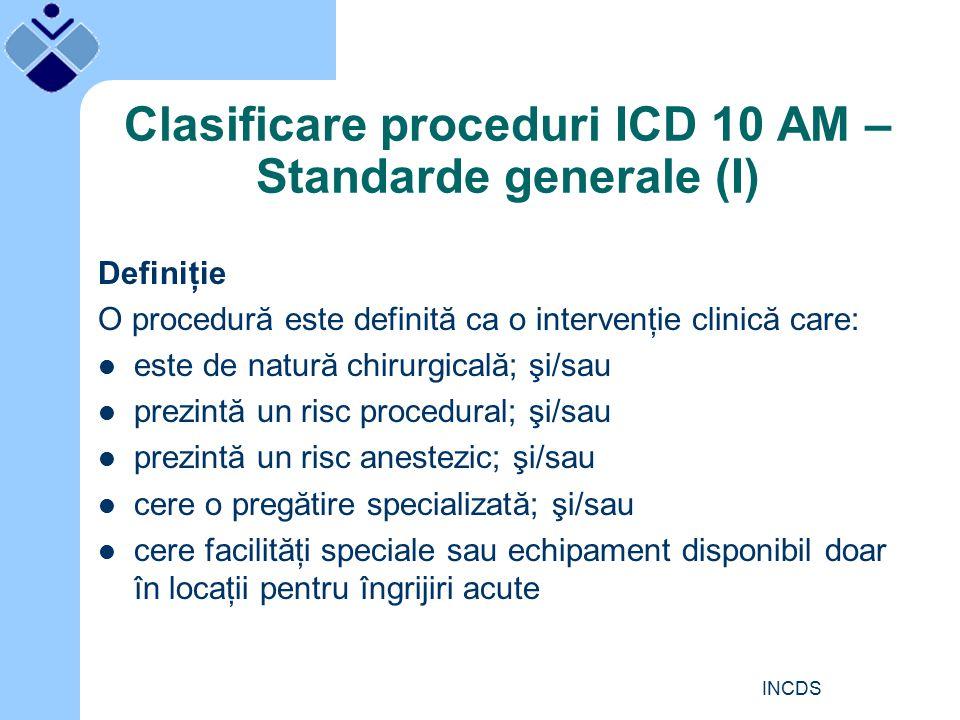 INCDS Clasificare proceduri ICD 10 AM – Standarde generale (I) Definiţie O procedură este definită ca o intervenţie clinică care: este de natură chirurgicală; şi/sau prezintă un risc procedural; şi/sau prezintă un risc anestezic; şi/sau cere o pregătire specializată; şi/sau cere facilităţi speciale sau echipament disponibil doar în locaţii pentru îngrijiri acute