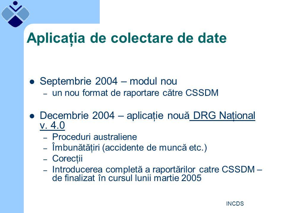 INCDS Aplicaţia de colectare de date Septembrie 2004 – modul nou – un nou format de raportare către CSSDM Decembrie 2004 – aplicaţie nouă DRG Naţional v.