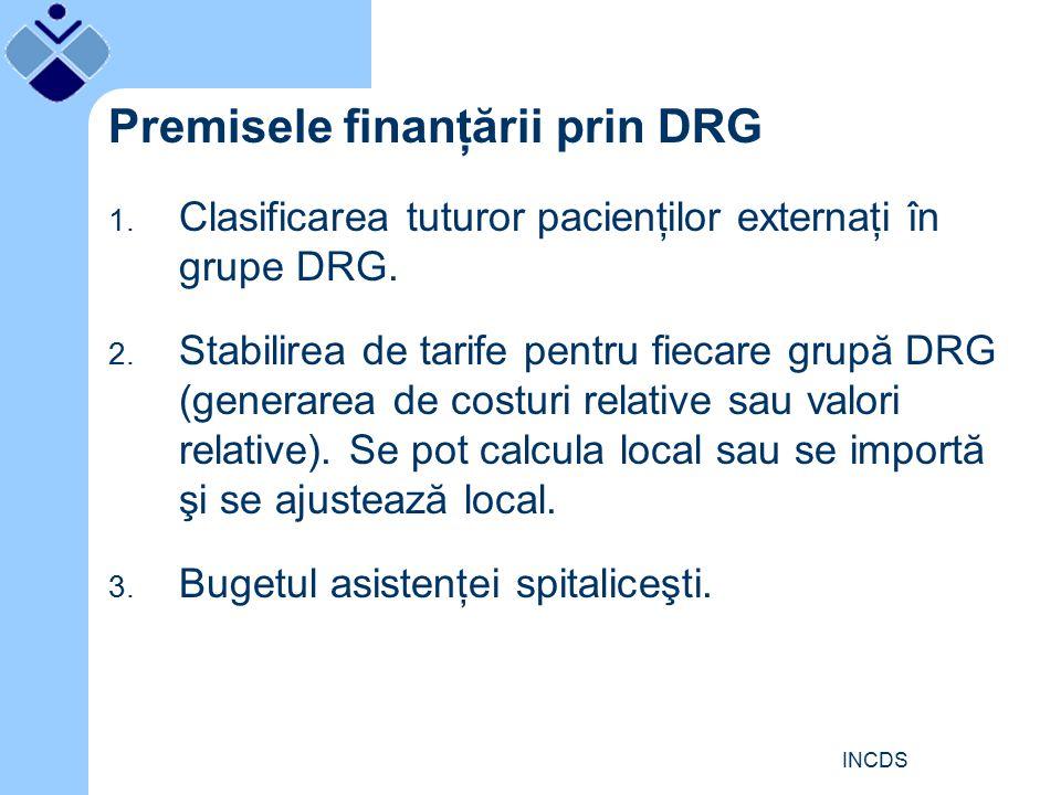 INCDS Premisele finanţării prin DRG 1. Clasificarea tuturor pacienţilor externaţi în grupe DRG.