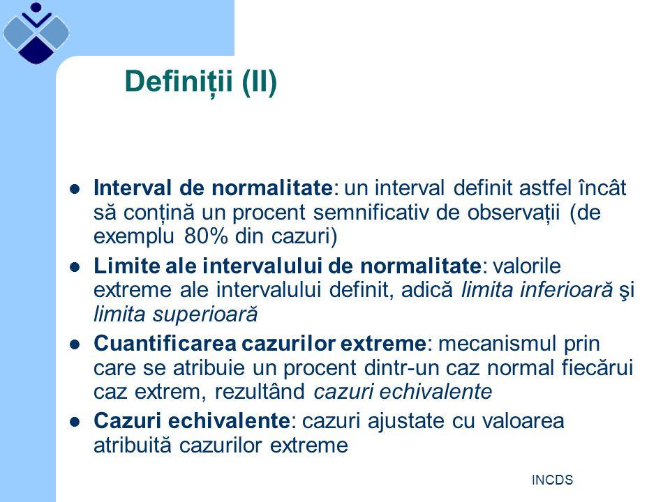INCDS Definiţii (II) Interval de normalitate: un interval definit astfel încât să conţină un procent semnificativ de observaţii (de exemplu 80% din cazuri) Limite ale intervalului de normalitate: valorile extreme ale intervalului definit, adică limita inferioară şi limita superioară Cuantificarea cazurilor extreme: mecanismul prin care se atribuie un procent dintr-un caz normal fiecărui caz extrem, rezultând cazuri echivalente Cazuri echivalente: cazuri ajustate cu valoarea atribuită cazurilor extreme