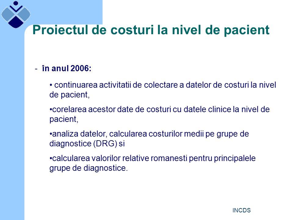 INCDS Proiectul de costuri la nivel de pacient - în anul 2006: continuarea activitatii de colectare a datelor de costuri la nivel de pacient, corelarea acestor date de costuri cu datele clinice la nivel de pacient, analiza datelor, calcularea costurilor medii pe grupe de diagnostice (DRG) si calcularea valorilor relative romanesti pentru principalele grupe de diagnostice.