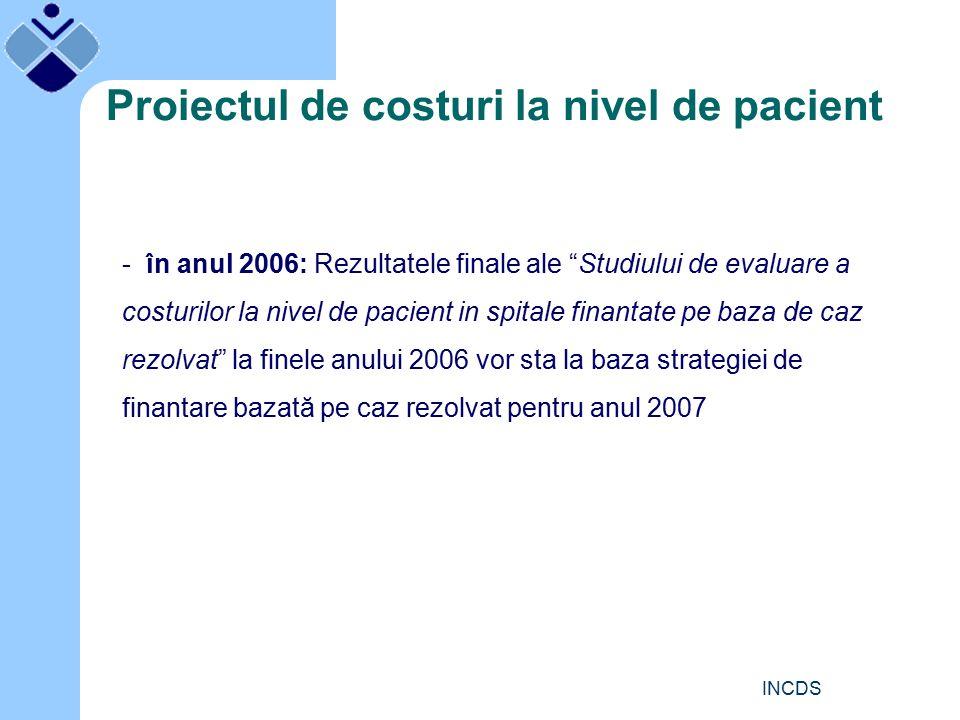 INCDS Proiectul de costuri la nivel de pacient - în anul 2006: Rezultatele finale ale Studiului de evaluare a costurilor la nivel de pacient in spitale finantate pe baza de caz rezolvat la finele anului 2006 vor sta la baza strategiei de finantare bazată pe caz rezolvat pentru anul 2007