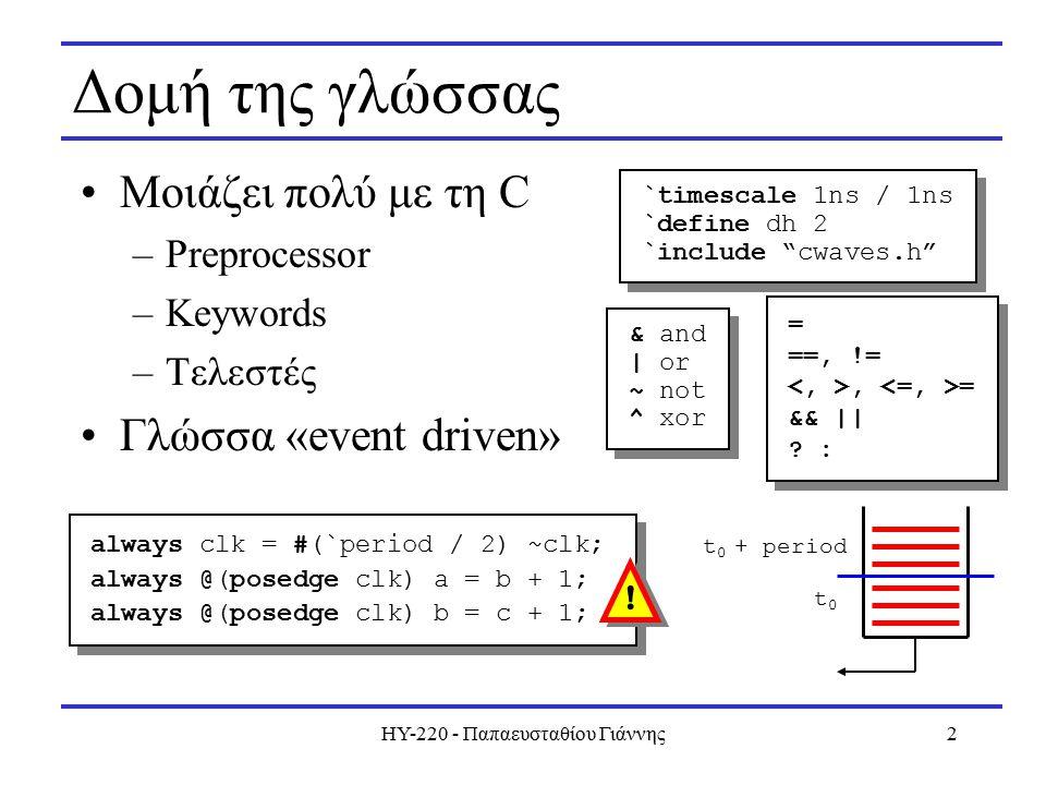 ΗΥ-220 - Παπαευσταθίου Γιάννης3 Events Κάθε έκφραση συνδέεται με έναν αρχικό χρόνο Initial και always: εσωτερικά σειριακά 0 10 2030 4050 initial begin a = 0; b = 0; clk = 0; end always clk = #10 ~clk; wire comb = a + b; always @(posedge clk) a = b + 1; always @(posedge clk) b = c + 1; always @(posedge clk) c = #5 c + 1; initial begin a = 0; b = 0; clk = 0; end always clk = #10 ~clk; wire comb = a + b; always @(posedge clk) a = b + 1; always @(posedge clk) b = c + 1; always @(posedge clk) c = #5 c + 1; 0 10, 30 15, 35 10, 20, 30, 40, 50 10 +, 30 +