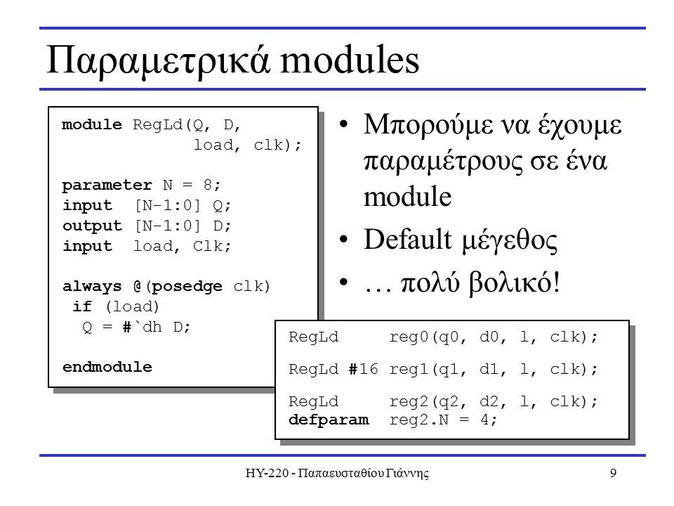 ΗΥ-220 - Παπαευσταθίου Γιάννης10 Sensitivity lists Λογικές εκφράσεις με or, and posedge και negedge –Ρολόγια Προσοχή στο hardware που θέλουμε να περιγράψουμε… always @(posedge clk or negedge rst_)...