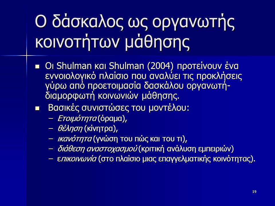 19 O δάσκαλος ως οργανωτής κοινοτήτων μάθησης Οι Shulman και Shulman (2004) προτείνουν ένα εννοιολογικό πλαίσιο που αναλύει τις προκλήσεις γύρω από προετοιμασία δασκάλου οργανωτή- διαμορφωτή κοινωνιών μάθησης.