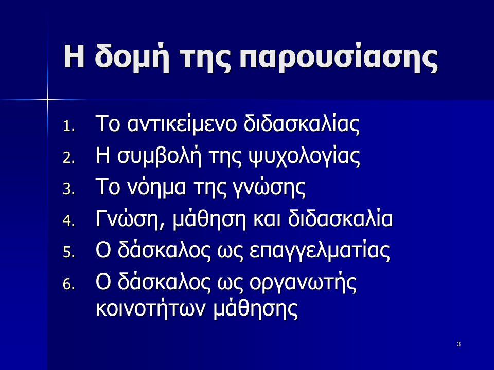 3 Η δομή της παρουσίασης 1. Το αντικείμενο διδασκαλίας 2. Η συμβολή της ψυχολογίας 3. Το νόημα της γνώσης 4. Γνώση, μάθηση και διδασκαλία 5. Ο δάσκαλο