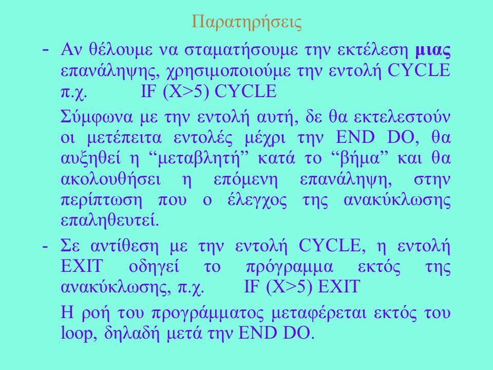 Παρατηρήσεις - Αν θέλουμε να σταματήσουμε την εκτέλεση μιας επανάληψης, χρησιμοποιούμε την εντολή CYCLE π.χ.IF (X>5) CYCLE Σύμφωνα με την εντολή αυτή, δε θα εκτελεστούν οι μετέπειτα εντολές μέχρι την END DO, θα αυξηθεί η μεταβλητή κατά το βήμα και θα ακολουθήσει η επόμενη επανάληψη, στην περίπτωση που ο έλεγχος της ανακύκλωσης επαληθευτεί.